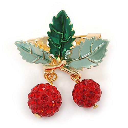 Dangling Brooch Crystal (Holly Green Enamel Leaves and Dangling Red Crystal Berries Christmas Brooch In Gold Tone - 40mm L)
