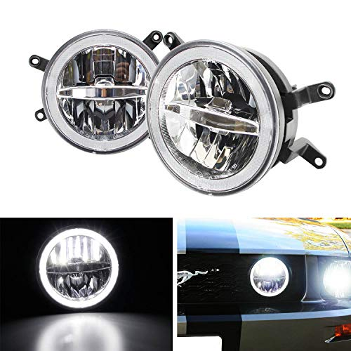 (iJDMTOY Clear Lens 30W High Power CREE LED Driving Fog Light Kit w/LED Halo Ring For 2005-2009 Gen5 Ford Mustang GT Deluxe, Premium or Shelby Models)