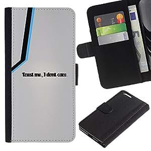A-type (Trust Me I Do not Care) Colorida Impresión Funda Cuero Monedero Caja Bolsa Cubierta Caja Piel Card Slots Para Apple (5.5 inches!!!) iPhone 6+ Plus / 6S+ Plus
