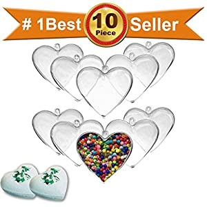 25 inch Clear DIY Plastic Heart Shape Fillable Christmas Tree Ornaments or Bath Bomb Molds,Pack of 10