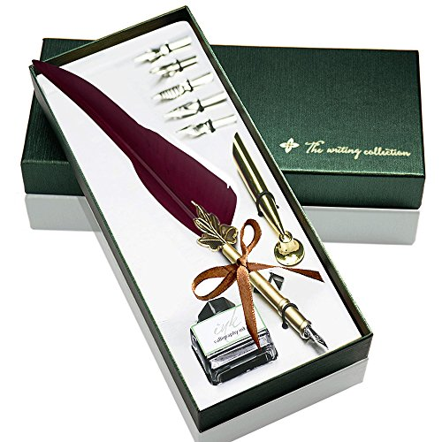 Feather Pen Glodeals Feather Quill Pen Antique Dip Feather Pen Set  Wine Red
