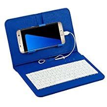 Efanr® Universal Wired Keyboard Flip Holster Case Cover For Samsung Galaxy Note 5 4 3 2 S7 S6 S5 S4 S3 HTC M9 M8 One plus One and other 4.2''-6.5'' Andriod Mobile Cell Phones With OTG (Blue)