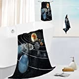 Auraise Home bath sheet towel set Solar system with eight planets. Multipurpose Quick Drying 19.7''x19.7''-13.8''x27.6''-31.5''x63''