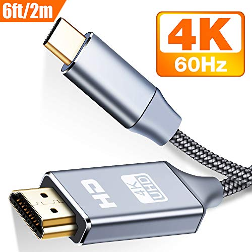 USB C to HDMI Cable(4K@60Hz)(6FT/2m), Snowkids USB Type-C to HDMI Cable [Thunderbolt 3 Compatible] MacBook Pro, iMac, Surface Book 2, Samsung Galaxy Note 9/S9/S8/Note 8, Pixelbook (Grey)