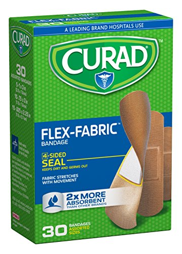 Curad Flex-Fabric Bandages, Assorted Sizes, 30 Count (Fabric Adhesive Sterile Flexible Bandages)