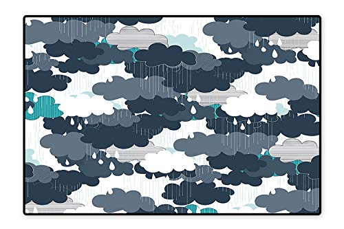 Perfect Kitchen Area Rug Funky Minimalist Overlap Plume Fluffy Storm Monsoon Cloud Weather Design Grey White for Home and Office 6'x7'