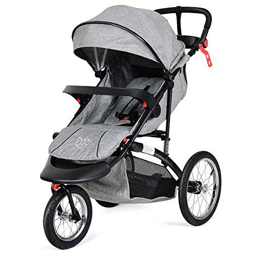 BabyJoy Jogger Stroller, Infant Travel Portable Jogging Stroller, Folding Pushchair w/Cup Phone Holder, Adjustable Handle Bar, Free Tractive Webbing (Gray)