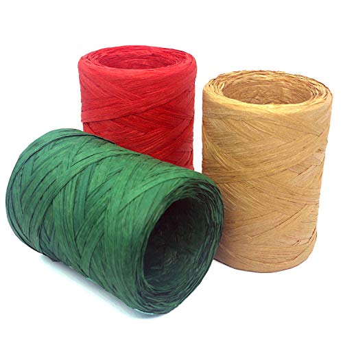 Trasfit 984 Feet Raffia Twine Gift Packing Ribbon, 3 Rolls Craft Red Green 328 Feet Each Roll for Christmas Gifts, Craft DIY Supply, Wrapping Hanging Tags