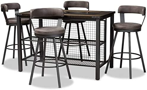 Baxton Studio Arjean 5 Piece Counter Height Dining Set in Grey