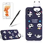 for Apple iPhone X Phone Case,Girlyard New Fashion Girly Lucky 3D Cute [Papa Animal Pattern] Soft Silicone Practical Shockproof Slim Protective Back Case Cover for iPhone X-Black Panda