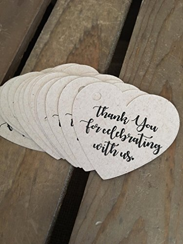 Thank You for celebrating with us Favor Tags - Thank You Heart Tags - 2 inch - WEDDING Bridal Shower Baby Shower - Recycled - Eco Friendly - 30 pieces by K and V Crafts