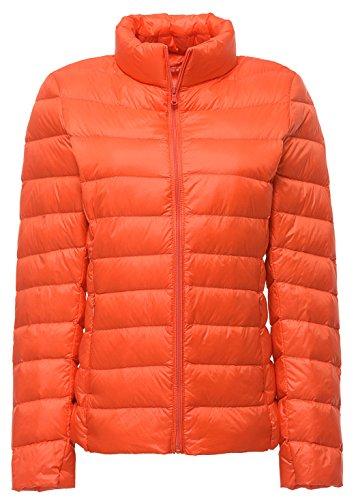 (Sawadikaa Women's Ultra Light Packable Stand Collar Winter Pillow Down Puffer Jacket Coat Orange Large)