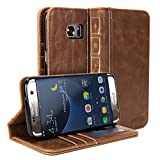 Galaxy S7 Edge Case, GMYLE Book Case Vintage for Galaxy S7 Edge SM-G9350 - Brown PU Leather Stand Case Cover