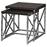 Monarch Specialties I 3271, Nesting Table, Chrome Metal, Cappuccino, Table Set, 2 pcs