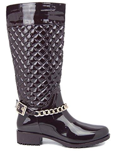 Kick Footwear Ladies knee high fur lined quilted zip up wellington boots brown pu