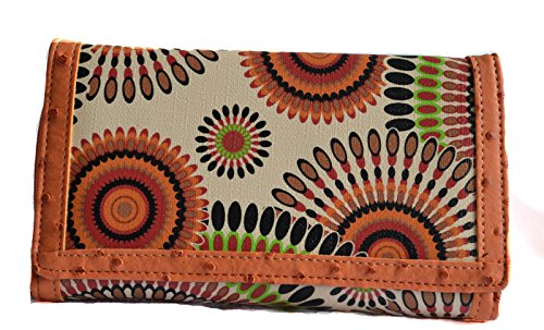 (Stony West Women Fashion Green Orange Multicolor Swirl Clutch Wallet)