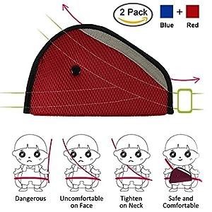 kyc 2 pack red blue car safety kids seatbelt adjuster cover strap mash shoulder pad children seat belt clips