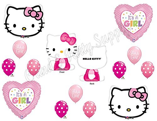 HELLO KITTY It's A Girl Baby Shower Mylar Balloons Decorations Supplies (Hello Kitty Balloons Baby)