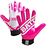 Battle Receivers Ultra-Stick Football Gloves - Youth XL - White/Pink