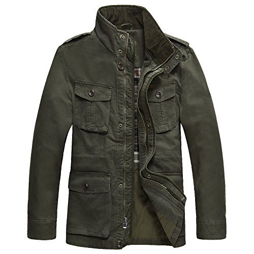 JYG Men's Casual Military Windbreaker Jacket Cotton Stand Collar Field Coat with Shoulder Straps ()