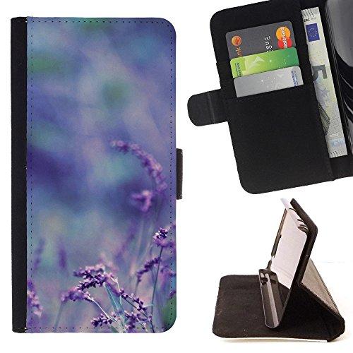 God Garden - FOR Apple Iphone 4 / 4S - Purple Flowers Bokeh - Glitter Teal Purple Sparkling Watercolor Personalized Design Custom Style PU Leather Case Wallet Fli