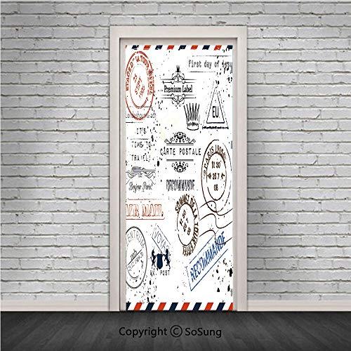 Vintage Door Wall Mural Wallpaper Stickers,Retro Post Stamps Postage Mail Paris Antique Artistic Design Vocation Traveling Decorative,Vinyl Removable 3D Decals 30.4x78.7/2 Pieces set,for Home Decor Mu