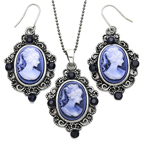 Soulbreezecollection Cameo Necklace Fashion Jewelry Set Pendant Charm Dangle Drop Earrings Gift for Women (Blue)