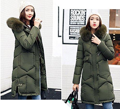de la delgada Larga de Escudo Mujeres COMVIP Puffer acolchado capilla la piel de Verde chaqueta imitación vzW1nwAqF