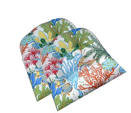 Resort Spa Home Decor Set of 2 - Universal Tufted U-Shape Cushions for Wicker Chair Seat - Splish Splash Tropical Fish/Coral -