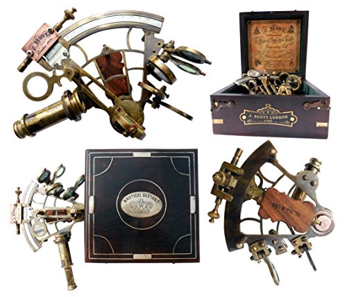 J. Scott London Brass Ship History Sextant with Hardwood Box. C-3082 (Father Sundial Time)