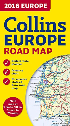2016 Collins Road Map of Europe 1:5M