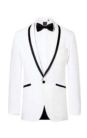 8f26fdea0 Dobell Mens White Tuxedo Jacket Regular Fit Shawl Lapel Black ...