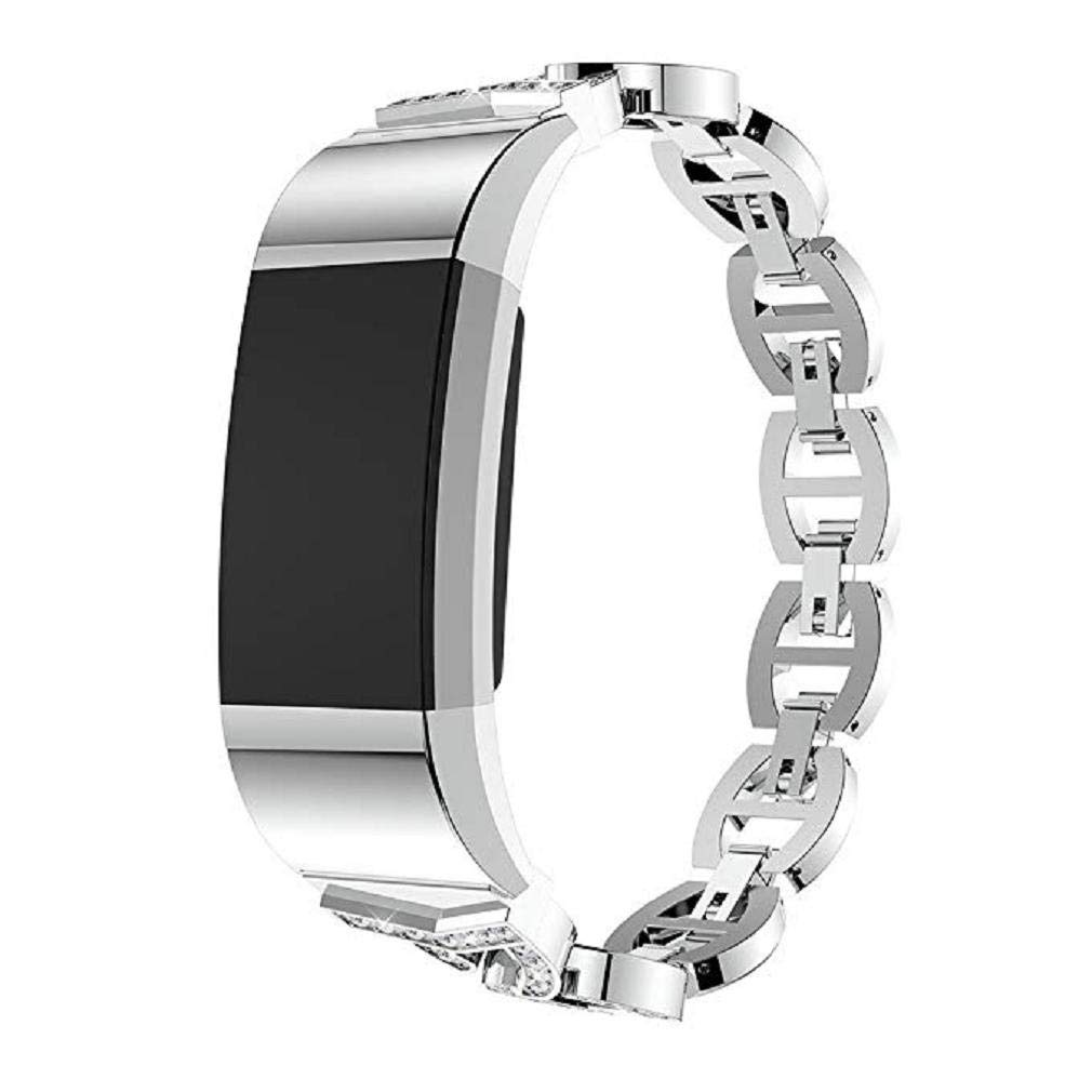 Fashion Clearance! Noopvan Replacement Watch Strap Band for Fitbit Charge 2 Smart Watch, Bling Bling Crystal Stainless Steel Watch Band Wrist Strap for Fitbit Charge 2 Smart Watch (Silver) by Noopvan Strap (Image #3)