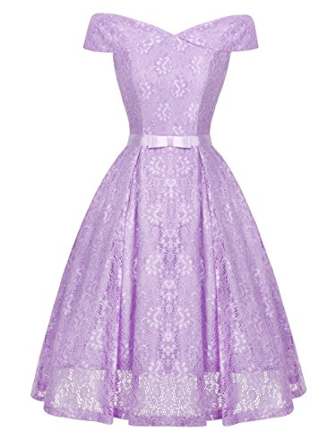 Off the Shoulder Lace Vintage Wedding Party Cocktail Dress DL006(M,Lilac) ()