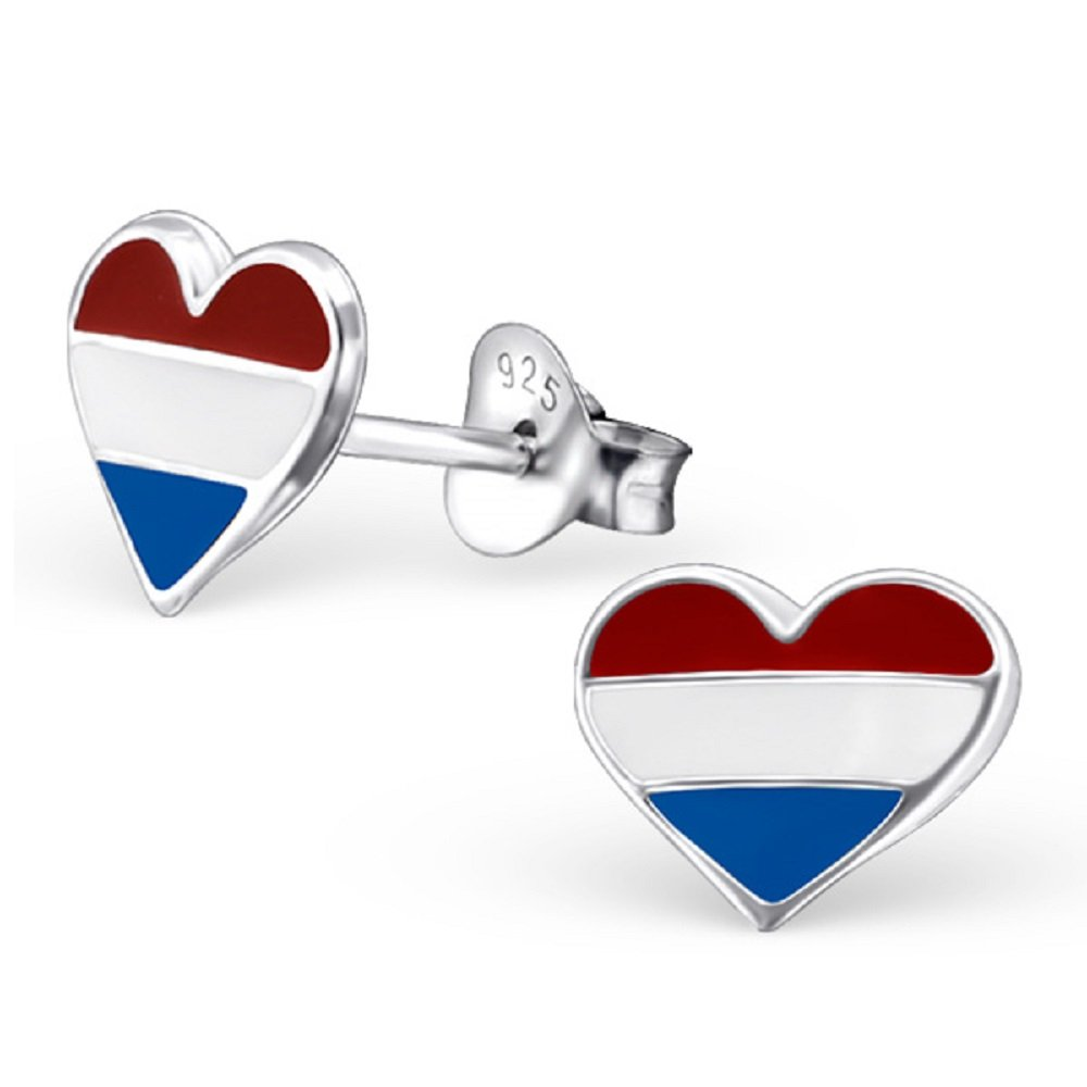 925 Sterling Silver Netherlands Heart Stud Earrings 13276