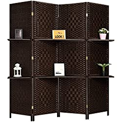 Rose Home Fashion RHF 6 ft Tall (Extra Wide) Diamond Room Divider,Wall Divider,Room dividers Folding Privacy Screens,Partition Wall 2 Display Shelves&Room Divider Shelves-DarkMocha-4 Panels 2 Shelves