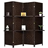 apartment living room decorating ideas RHF 6 ft Tall (Extra Wide) Diamond Room Divider,Wall divider,Room dividers and folding privacy screens,Partition Wall, With 2 Display Shelves&room divider with shelves-DarkMocha-4 Panels 2 Shelves