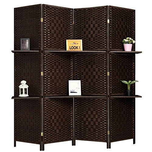 - RHF 6 ft Tall (Extra Wide) Diamond Room Divider,Wall divider,Room dividers and folding privacy screens,Partition Wall, With 2 Display Shelves&room divider with shelves-DarkMocha-4 Panels 2 Shelves