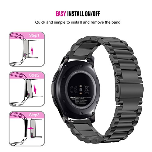 gear s3 frontier band xl large oitom premium solid stainless steel watch bands link bracelet. Black Bedroom Furniture Sets. Home Design Ideas