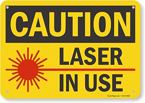 "SmartSign""Caution - Laser In Use"" Sign | 7"" x 10"" Plastic"