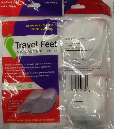Travel Feet Disposable Non-Skid Clear Foot Covers TSA Approved 2 pair (Airport Socks)