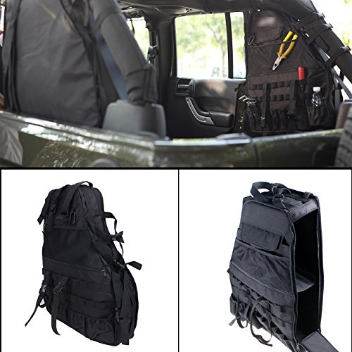 BOXATDOOR Roll Cage Multi-Pockets Storage Saddlebag Seat Back Cargo Bag Right 600D Oxford Cloth for Jeep Wrangler 4-door - 07 Sunglasses Less 4