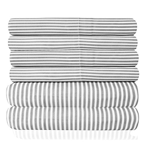 King Size Bed Sheets - 6 Piece 1500 Thread Count Fine brushed Microfiber serious Pocket King sheet Set Bedding - 2 Extra Pillow Cases, very good Value, King, antique Stripe Gray