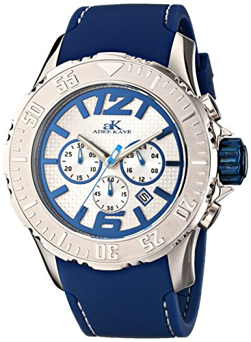 Adee Kaye Men's 'Grand MOND-G2Z Collection' Quartz Stainless Steel and Rubber Casual Watch, Color:Blue (Model: ()