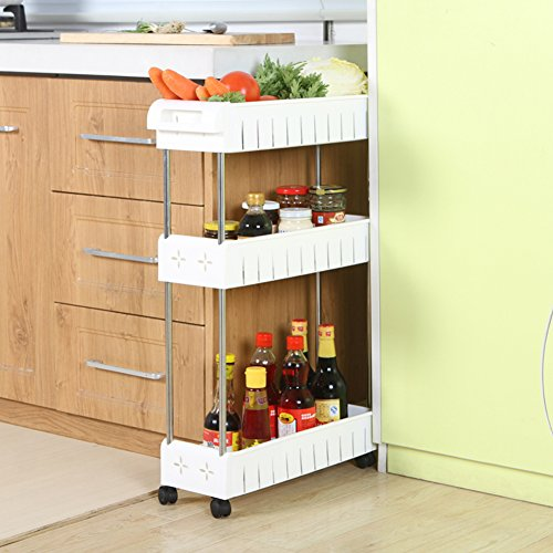 TOAO 3-Tier Gap Kitchen Slim Slide Out Storage Tower Rack--Mobile Shelving Unit Organizer with Universal Wheels and Hook-Slim Slide Out Pantry Storage Rack for Narrow Spaces Laundry, Bathroom&Kitchen