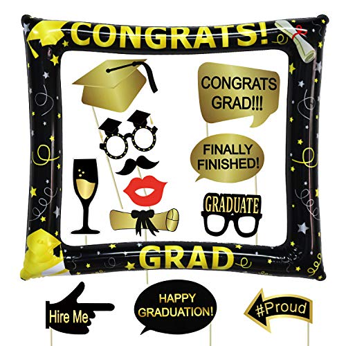 Graduation Photo Booth Props 2019 Kit with Inflatable Selfie Frame - 17 + 1Pcs - Graduation Party Supplies 2019