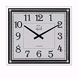 SMC 14-inch Modern Non Ticking Silent Quartz Analog Digital Rectangular Ultra Thin Glass Wall Clock