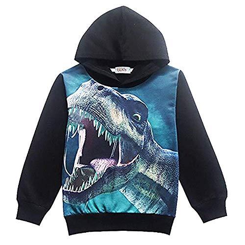Popshion Boys Toddler Cartoon Dinosaur Hoodie Jacket Cool Long Sleeve Zipper Hooded Sport Sweatshirt for Kids