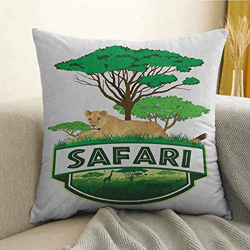 Safari Bedding Soft Pillowcase African Savannah with Lion and Green Trees Wilderness Exotic Nature Hypoallergenic Pillowcase W24 x L24 Inch Sand Brown Hunter Green