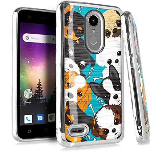 Compatible LG Aristo 2 X210 | Tribute Dynasty | K8 (2018) | Fortune 2 | Zone 4 | Risio 3 Case Electroplated Chrome TPU Brushed Textured Hybrid Phone Cover (Cute Teacup Dogs)